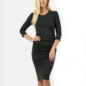 Charcoal Side-Shirred Midi Dress